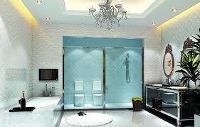 modern bathroom lighting in white themed bathroom with crystal chandelier on the top and silver metal ceiling lamps