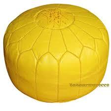 yellow pouf ottoman. Perfect Pouf Stuffed Moroccan Leather Pouf Pouffe Ottoman Poof Color Yellow On Pouf Ottoman U