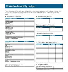 Simple Household Budget Template Excel Family Spreadsheet Home