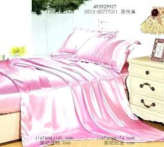 pink satin quilt silk bedding set king size queen duvet cover bed in quilted throw blanket