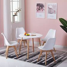 80cm white round dining table with 4 solid beech wood legs retro kitchen table 11