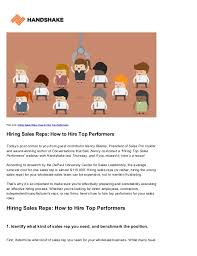 Hiring Sales Rep Hiring Sales Reps How To Hire Top Performers Handshake