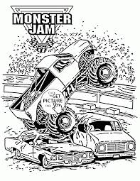 Smashing Monster Truck Jam Coloring Page For Kids Transportation