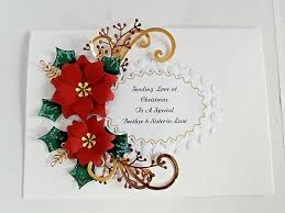 Poinsettia Card Personalised Handmade Christmas Card Large Red Poinsettia