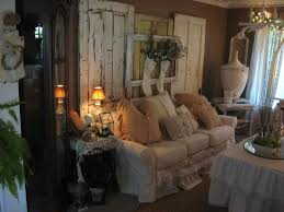 White Shabby Chic Living Room Furniture Old Wooden Wall Panel Designed Behind White Ruffled Sofa With