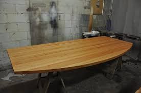 cherry edge grain wood countertop with curved edge
