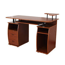 computer table design for office. HomCom Home Office / Dorm Room Computer Desk With Keyboard Tray - Brown Wood 0 Table Design For