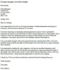 It Project Manager Cover Letter Example Job Pinterest Project