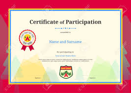 Certificate Of Participation Templates Kids Diploma Or Certificate Of Participation Template With Colorful