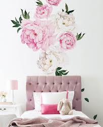 peony flowers wall sticker for girls room