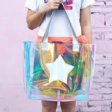 <b>Women</b> Fashion <b>Portable Transparent</b> Handbag Big Clear ...
