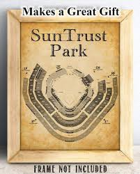 Great Woods Seating Chart Suntrust Park Baseball Seating Chart 11x14 Unframed Art Print Great Sports Bar Decor And Gift Under 15 For Baseball Fans
