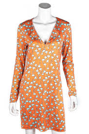 Floral Design By Reina Diane Von Furstenberg Orange And Turquoise Print Jersey Reina Dress M Us 8
