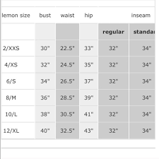 Tory Burch Size Chart Lululemon Size Chart Inches Best Picture Of Chart Anyimage Org