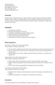 Grocery Store Resume Interesting Grocery Store Clerk Resume