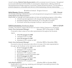 Resume Sample For Medical Representative Resume Medical Saless Device Representative Entry Level Samples Cv 17