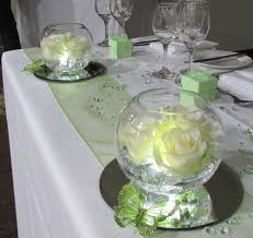 Fresh rose in lighted goldfish bowls and green butterflies for the top  table.