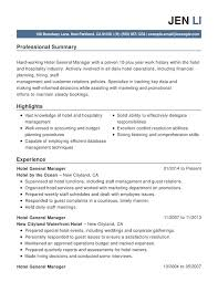 Resume Hospitality Hotel Amp Hospitality Combination Resume Sample