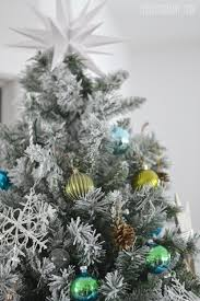 Flocked Christmas Tree Our Teal Green Silver And White Vintage Inspired Flocked
