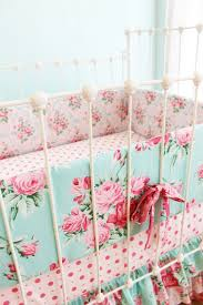 Pink and Blue Roses Baby Girl Crib Bedding - Shabby Chic baby bedding with  ruffle crib skirt - nursery bedding by lottiedababy- LAST ONE
