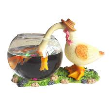 Decorative Fish Bowls SimLife Decorative Glass Fish Bowl Aquarium Duck [bowlD 38