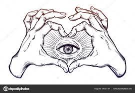 Dvě Ruce Srdce Znamení Symbolem Slepecká Stock Vektor Katja87