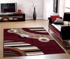 modern living room with red color circles design area rug and leather chaise rugs for floor accent bedroom thick washable teal small grey carpet near