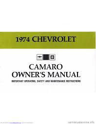 CHEVROLET CAMARO 1974 2.G Owners Manual