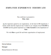 Employee Working Certificate Format ExperienceCertificateSample100png 16