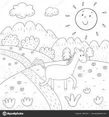 Boek Zonnige Weide Bergen Bomen Ontwerp Voor Kinderen Kleurplaat