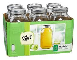 Amazon.com: Ball Wide Mouth Half Gallon 64 Oz Jars with Lids and Bands, Set  of 6: Canning Jars: Kitchen & Dining