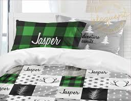 plaid woodland bedding green bedding sets for kids personalized comforter or duvet cover 414