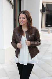 ladyinviolet shares what to wear with a brown leather jacket