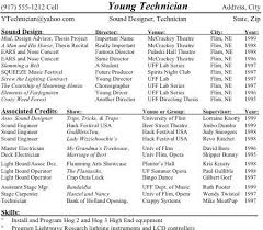 Tech Theatre Resume Technical Theatre Resume College Resume Theatre Sample Resume