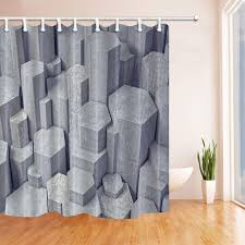 three dimensional stone shower curtain gray stalagnate stacked fabric shower curtains hooks
