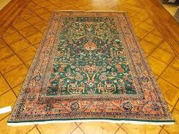 orange oriental rug 6 x 8 7 dark green wool hand knotted rust