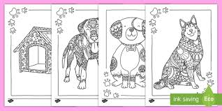 Plague doctor and robot pet. Dog Themed Mindfulness Colouring Pages Anxiety And Stress