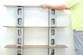 wood block shelves wall