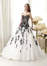 tulle ball gown sweetheart black and white wedding dresses 2014