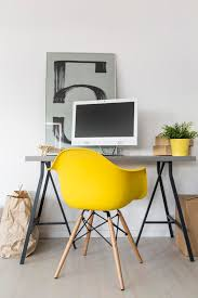idea office furniture. Simple Home Office With Desk, Yellow Chair, Computer And Decorative Modern Painting On The Wall Idea Furniture