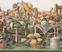 Floral Gardening Wallpaper Border ...