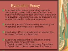 essay writing  evaluation essay