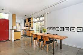track lighting pendants dining room modern with concrete floor first hill condo dining room photography red blue track lighting