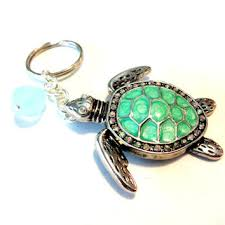 abalone shell sea turtle keychain beach lover accessory wire w