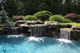 inground pool waterfalls. Nature Interior Design And Cool Swimming Pool With Waterfall Green Garden Also Creative Stone Modern Ideas-Swiming Pool-Modern Inground Waterfalls