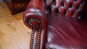 chesterfield leather wing back chair oxblood red queen anne armchair
