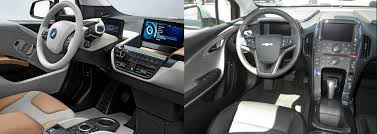 bmw i3 w range extender vs chevrolet volt inside evs bmw i3 and chevrolet volt interiors