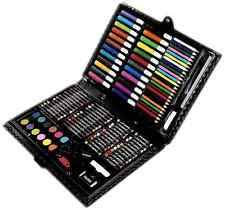 art set for kids. 120 piece art kit set pencils pastels painting school kids artist case drawing for d