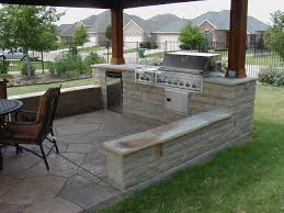 outdoor grill fridge stone seat wall