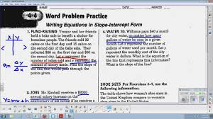 writing equations in slope intercept form answers lin alg 114 114 word problem practice for slope intercept form you